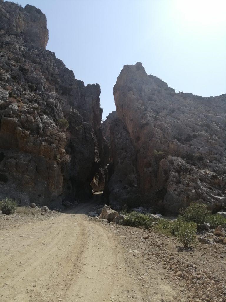 Cape Tripiti, road through rocks